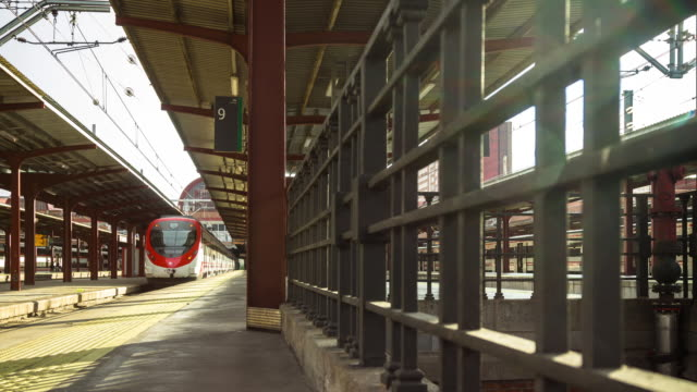 timelapse of platform at madrid chamartin railway station - number 9 stock videos & royalty-free footage
