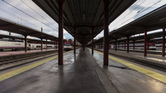 Timelapse of Platform at Madrid Chamartin Railway Station