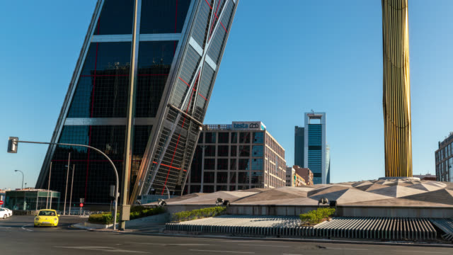 Timelapse of Plaza la Castilla and the Gate of Europe in Madrid, Spain