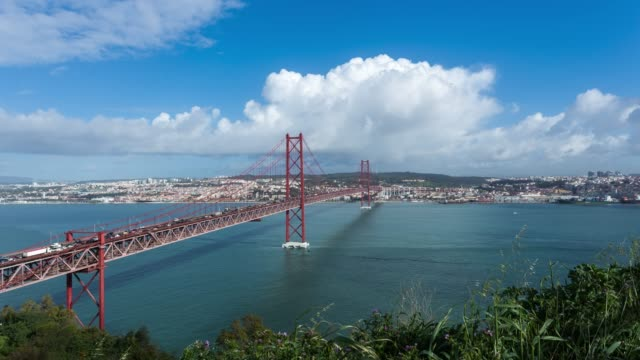 Timelapse of Ponte 25 de Abril in Lisbon