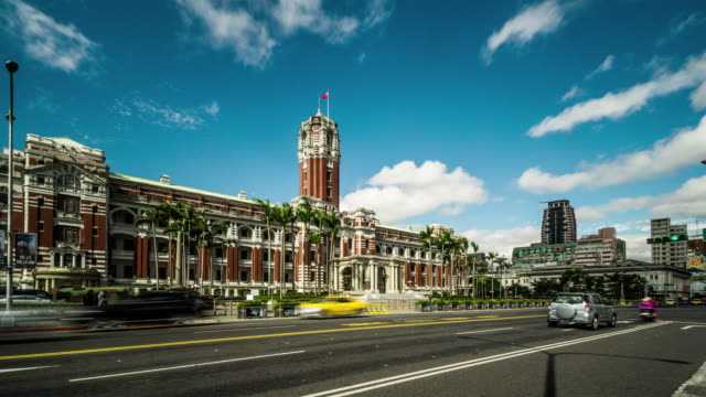 timelapse of presidential building and the traffic, taiwan, china - taipei stock videos & royalty-free footage