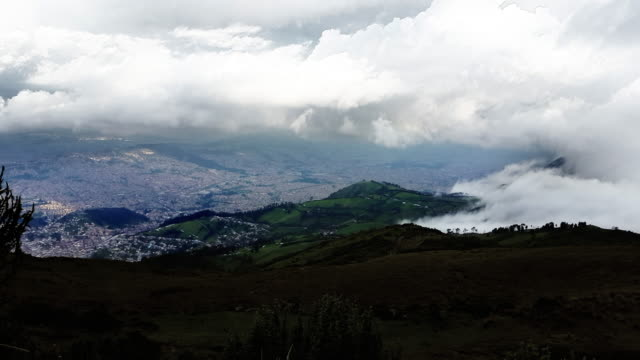 timelapse of quito city ecuador from pichincha mountain with clouds in sunset