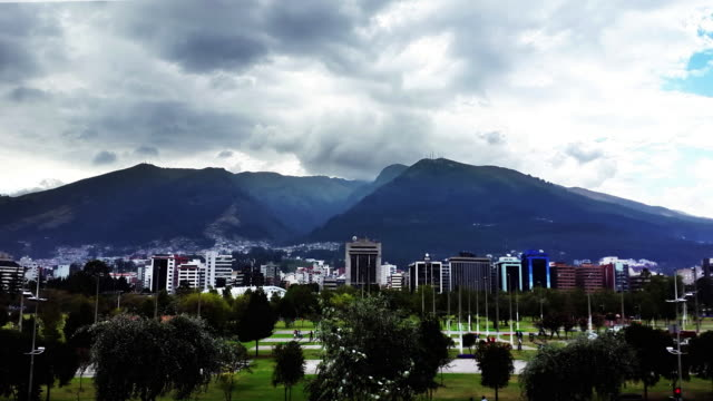 timelapse of quito city with pichincha mountain and carolina park