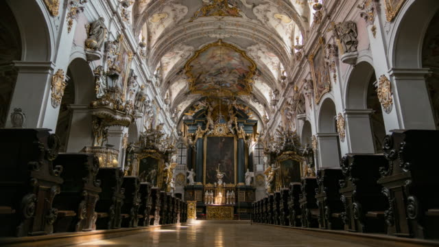 timelapse of regensburg ratisbona st emmerman basilika inside - regensburg stock videos & royalty-free footage