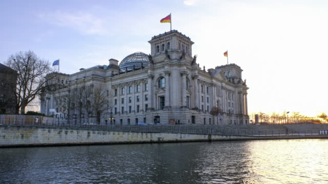 4K Timelapse of Reichstag building (german government) and river Spree in Berlin, Germany