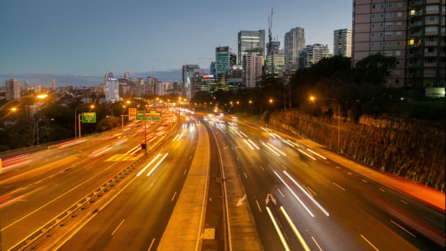 4k time-lapse of rush hour traffic - long exposure stock videos & royalty-free footage