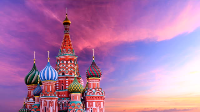 timelapse of saint basil's cathedral - moscow russia stock videos & royalty-free footage