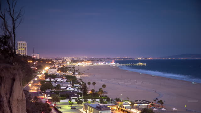 timelapse of santa monica from palisades park at sunset - agricultural fair stock videos & royalty-free footage