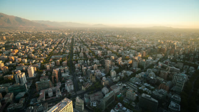 Timelapse of Santiago skyline from high angle