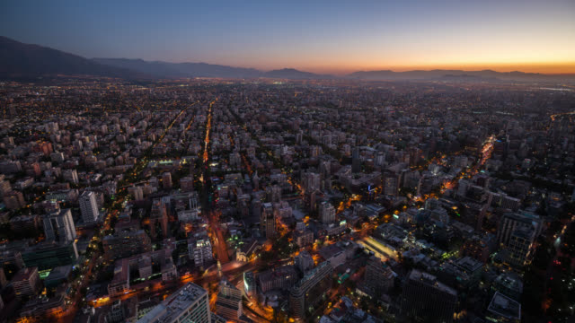 stockvideo's en b-roll-footage met timelapse of santiago skyline from high angle - chile