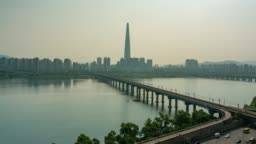 Timelapse of Seoul downtown city skyline, Aerial view of Han river in Seoul city, South Korea