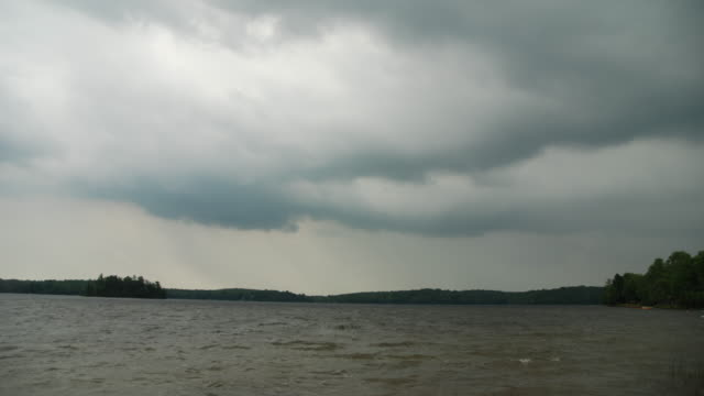 Timelapse Of Severe Thunderstorms Approaching A Lake