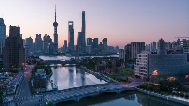 Timelapse of shanghai skyline sunrise