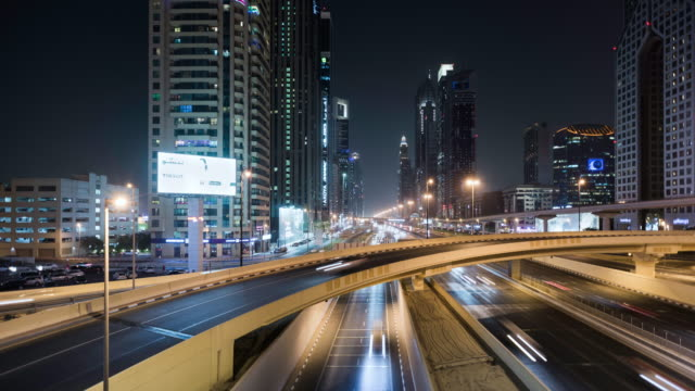 timelapse of sheikh zayed road in dubai - mode of transport stock videos & royalty-free footage