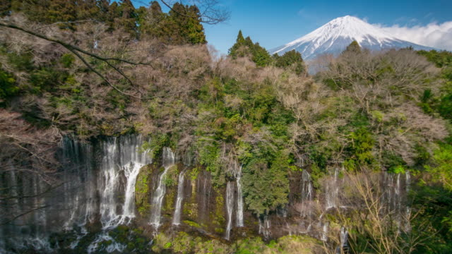 timelapse of shiraito waterfall with mount fuji , fujinomiya , japan - nagano prefecture stock videos and b-roll footage