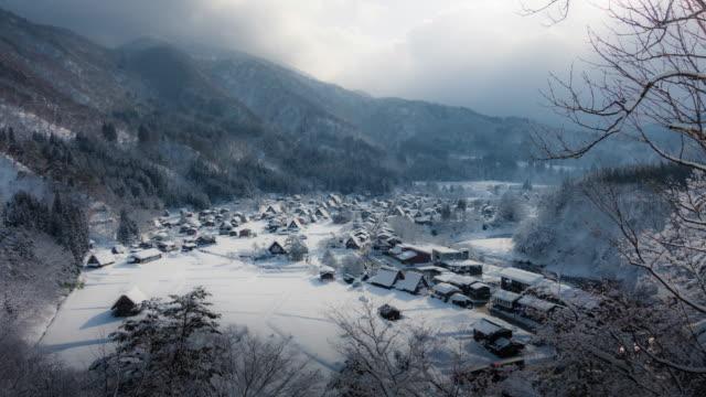 timelapse of Shirakawago village in winter