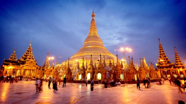 Timelapse del templo de Shwedagon, Rangún, Myanmar (Birmania)