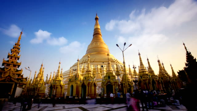 timelapse of shwedagon temple, yangon, myanmar (burma) - myanmar stock videos and b-roll footage
