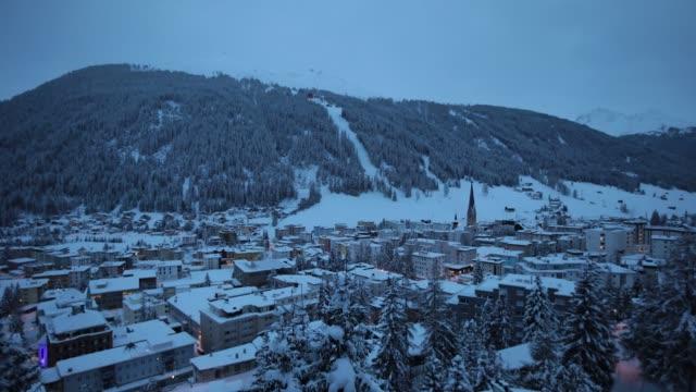 Timelapse of snowfilled skylines in Davos Switzerland on Sunday Jan 15 2017