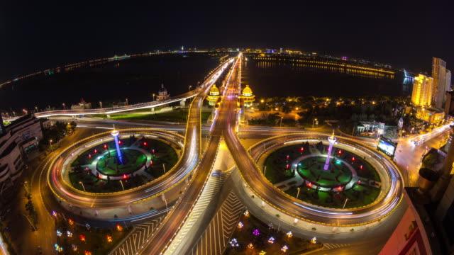 Timelapse of Songhuajiang Gonglu Bridge, Harbin, China at Night