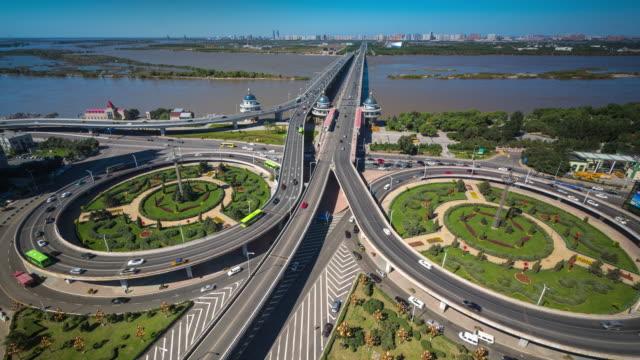 Timelapse of Songhuajiang Gonglu Bridge, Harbin, China in Daytime