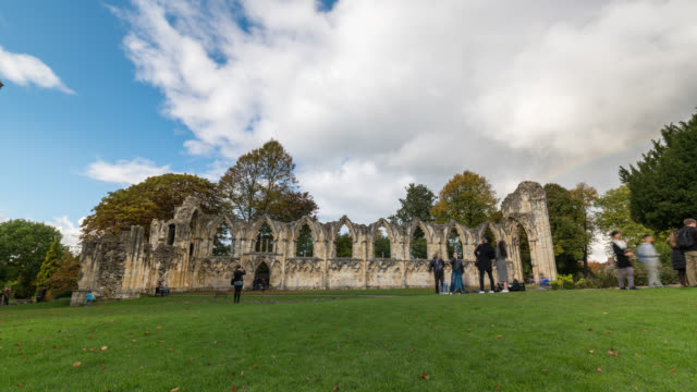 YORK: TimeLapse of St Mary's Abbey in York with a rainbow
