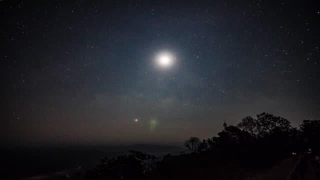Zeitraffer der Sterne-Milchstraße Nacht Abenddämmerung Zeit im mountain, 4 k (UHD
