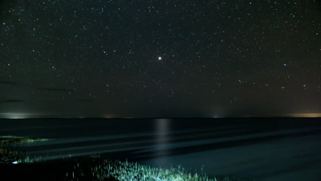 timelapse of stars and lagoon in santafe argentina with mars at the middle - lagoon stock videos & royalty-free footage