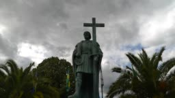Timelapse of Statue of Pedro Alvares Cabral, navigator who discovered the land of Brazil in 1500, in his native town Belmonte
