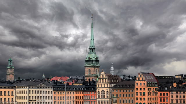 timelapse of stockholm - sweden stock videos & royalty-free footage