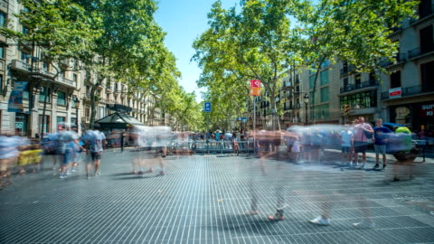 timelapse of street in barcelona - less than 10 seconds stock videos & royalty-free footage