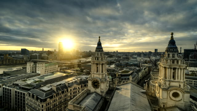 time-lapse of suneset from roof of st paul's cathedral, london, uk - changing clock stock videos and b-roll footage