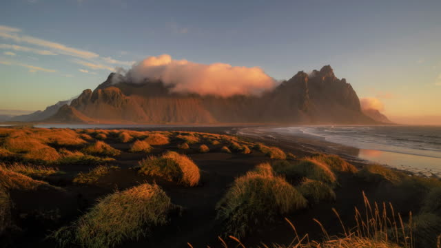 Time-lapse of sunrise across Vesturhorn in South Iceland.