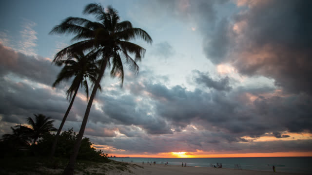 Timelapse of sunset at tropical beach , Varadero Cuba