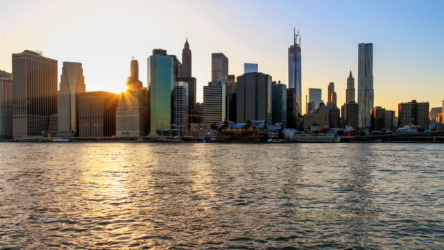 Timelapse of Sunset Manhattan with the sun hidden behind the skyline in 4K