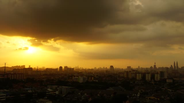 Timelapse of sunset over Kuala Lumpur in Malaysia