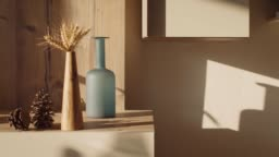 Timelapse of Sunset over Living Room with Elongated Shadows of Decorative Objects and Pinecones