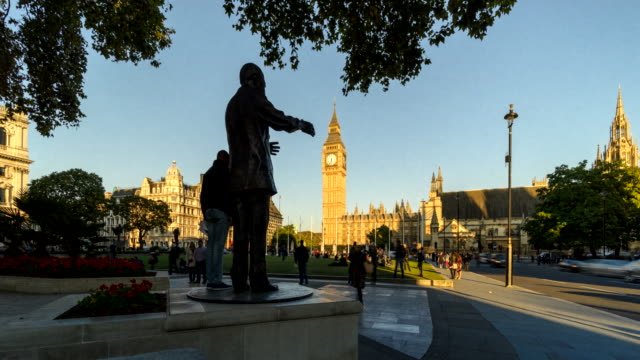 Time-lapse of sunset to dusk over Parliament Square, London, UK