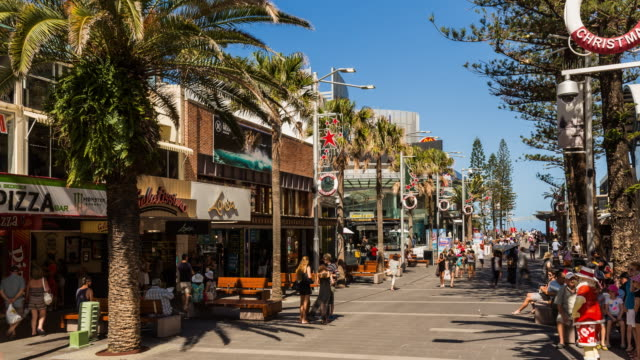 4K timelapse of Surfers Paradise shopping mall with people walking, Gold Coast