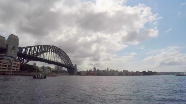 timelapse of sydney harbour bridge at circular quay - sydney australia stock videos and b-roll footage