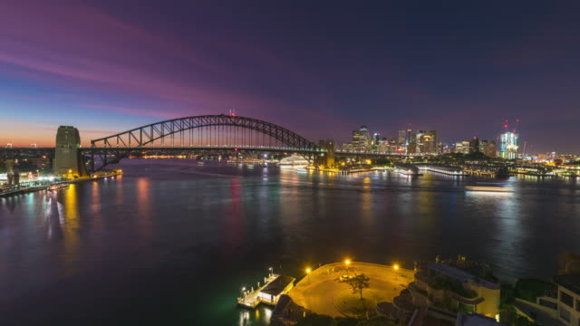 timelapse of sydney harbour from night to dawn - ferry stock videos & royalty-free footage