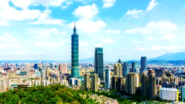 4k time-lapse of taipei financial district at sunny day with taipei city, - taipei 101 stock videos & royalty-free footage