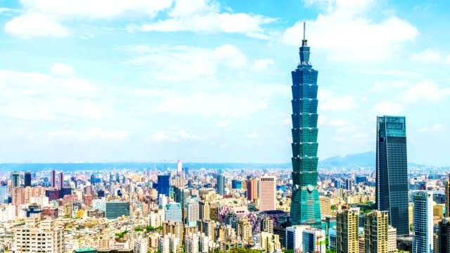 4K Time-lapse of Taipei financial district at sunny day with Taipei city,
