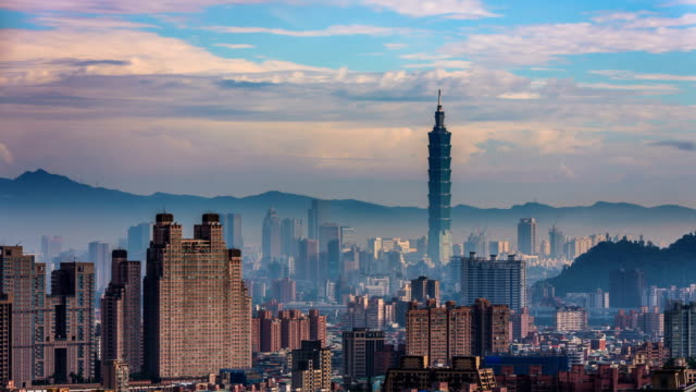 time-lapse of taipei financial district at sunny day with taipei city, - taiwan stock videos and b-roll footage