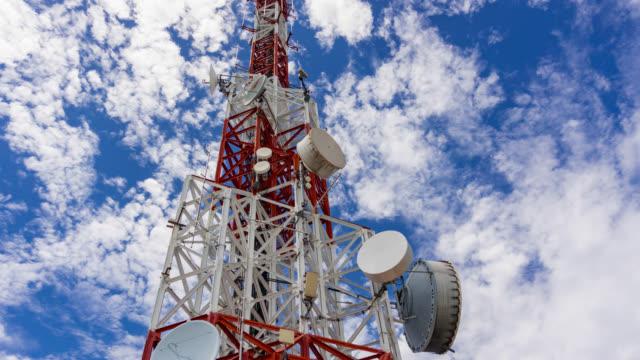 Timelapse van telecommunicatie toren tegen blauwe hemel