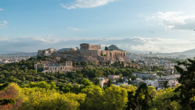 Timelapse of the Acropolis of Athens after sunrise