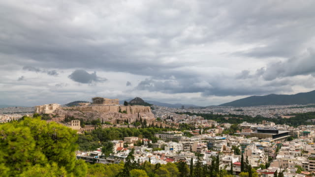Timelapse of the Acropolis of Athens in a cloudy day
