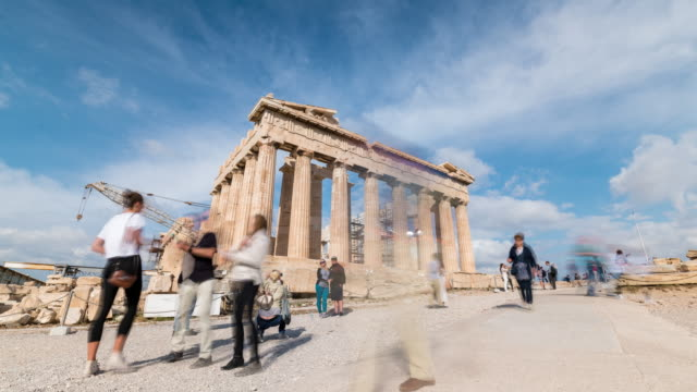 timelapse of the acropolis of athens - old ruin stock videos & royalty-free footage
