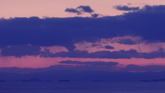 Timelapse of the Argosaronikos gulf in Athens, Greece and the Pireas port at sunset