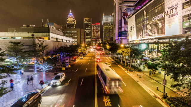 Timelapse of the busy Taipei downtown at night, Taiwan, China